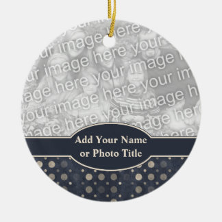 Distressed Polka Dot Pattern in Dark Blue Beige Ornament