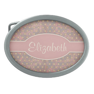 Distressed Polka Dot Pattern in Pink and Beige Oval Belt Buckles