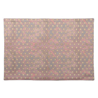 Distressed Polka Dot Pattern in Pink and Beige Placemat