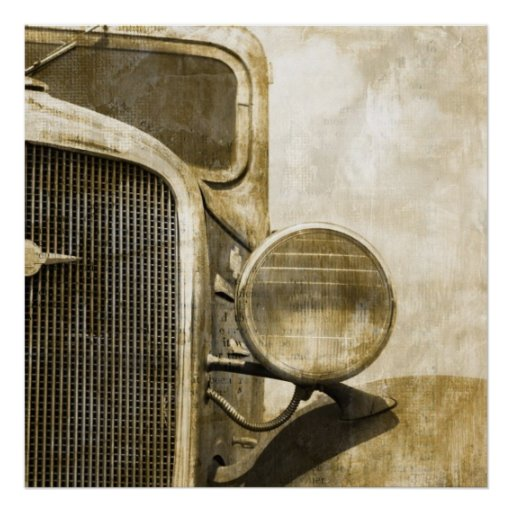 Distressed Primitive Rustic country old farm truck Poster