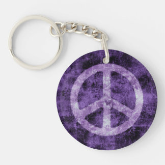 Distressed Purple Peace Sign Key Ring
