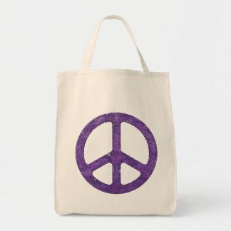 Distressed Purple Peace Sign Tote Bag