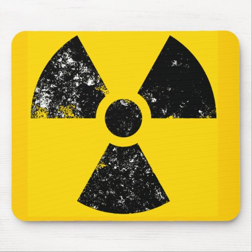 Distressed radiation symbol mousemat