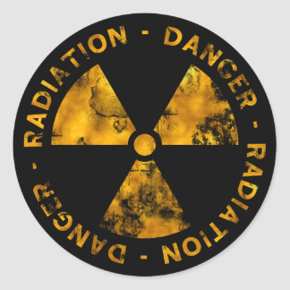 Distressed Radiation Symbol Sticker