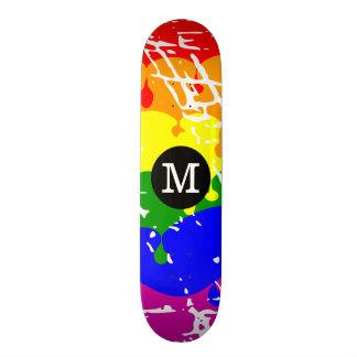 Distressed Rainbow dripping Monogram Custom Skate Board