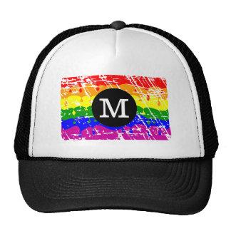 Distressed Rainbow dripping Monogram Mesh Hats