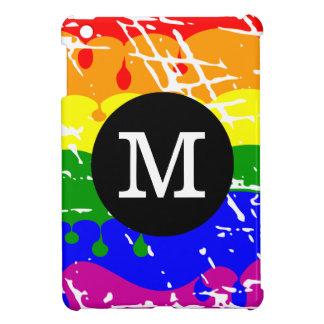 Distressed Rainbow dripping Monogram iPad Mini Case