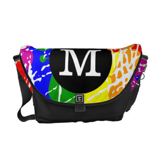 Distressed Rainbow dripping Monogram Messenger Bag