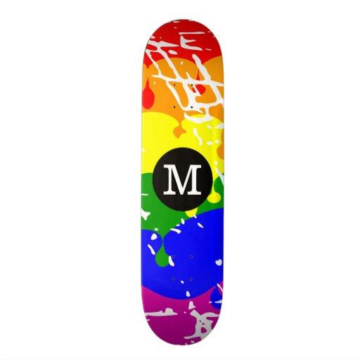 Distressed Rainbow dripping Monogram Skate Deck