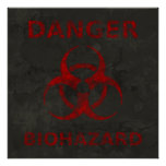 Distressed Red Biohazard Symbol Poster