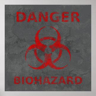 Distressed Red Biohazard Warning Poster