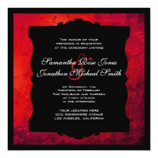 Distressed Red Gothic Wedding Invitation