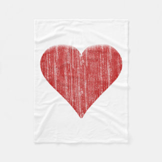 Distressed Red Heart Fleece Blanket