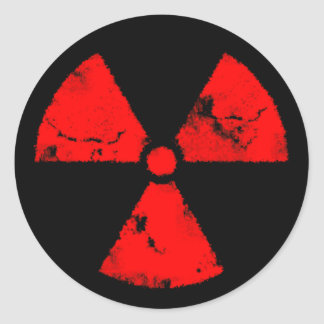 Distressed Red Radiation Symbol Sticker