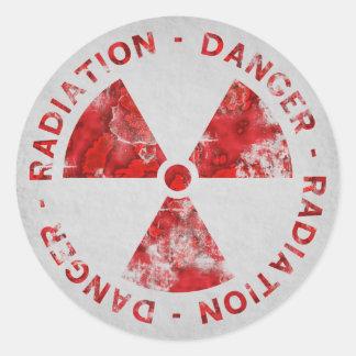 Distressed Red Radiation Symbol Sticker Stickers
