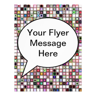 Distressed Retro Jewel Tones Mosaic Tiles Pattern Personalized Flyer