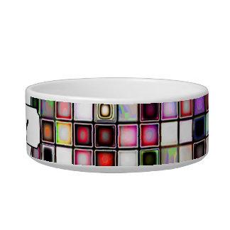 Distressed Retro Jewel Tones Mosaic Tiles Pattern Pet Bowls