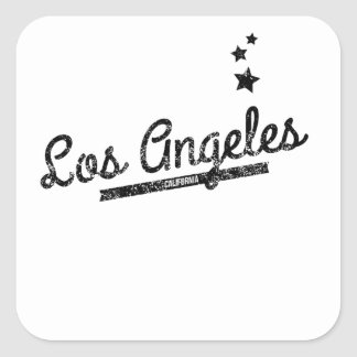 Distressed Retro Los Angeles Logo Square Sticker