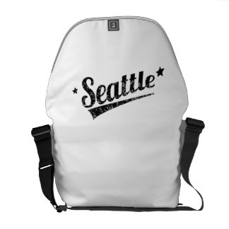 Distressed Retro Seattle Logo Courier Bags