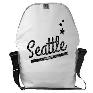 Distressed Retro Seattle Logo Messenger Bag