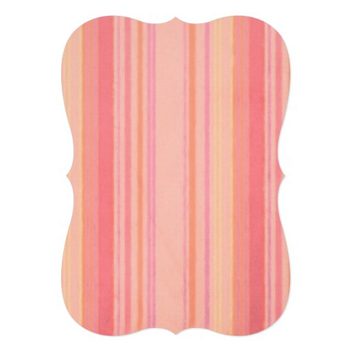 Distressed Retro Stripe Lemon Peach Custom Invitation