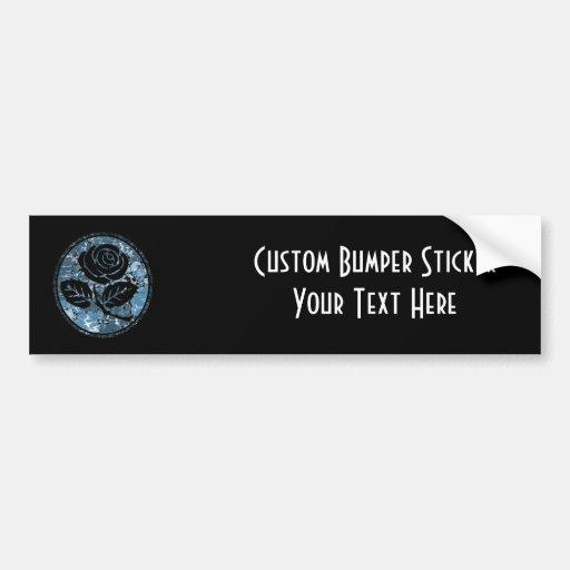 Distressed Rose Silhouette Cameo - Blue Bumper Stickers