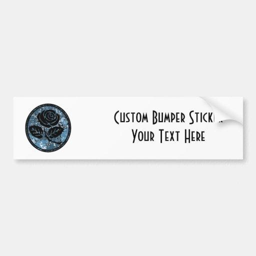 Distressed Rose Silhouette Cameo - Blue Bumper Sticker