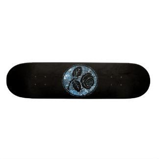 Distressed Rose Silhouette Cameo - Blue Skate Board Deck