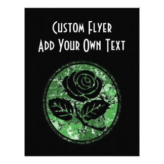 Distressed Rose Silhouette Cameo - Green 21.5 Cm X 28 Cm Flyer