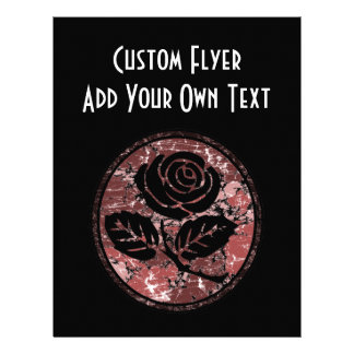 Distressed Rose Silhouette Cameo - Red Full Color Flyer