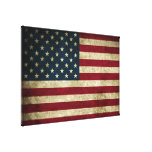 Distressed Rustic American 50 Star Flag Print Gallery Wrapped Canvas