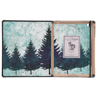Distressed Rustic Evergreen Pine Trees Forest iPad Case