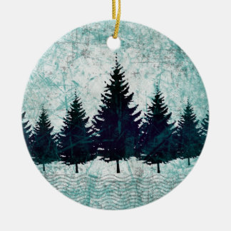Distressed Rustic Evergreen Pine Trees Forest Christmas Ornament