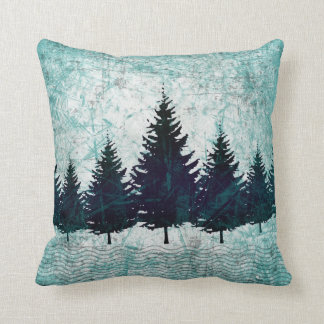 Distressed Rustic Evergreen Pine Trees Forest Cushion