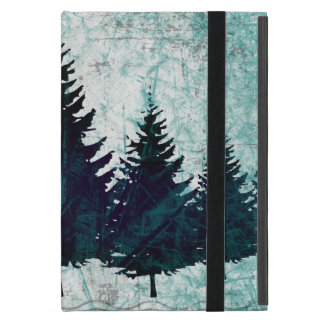 Distressed Rustic Evergreen Pine Trees Forest Cover For iPad Mini