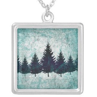 Distressed Rustic Evergreen Pine Trees Forest Custom Necklace