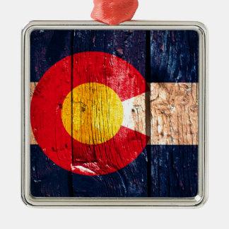 Distressed rustic wooden Colorado flag ornament