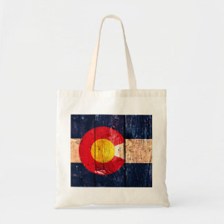 Distressed rustic wooden Colorado state flag