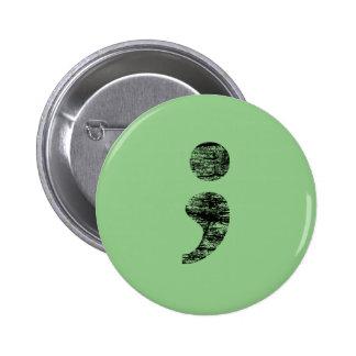 Distressed Semicolon Button