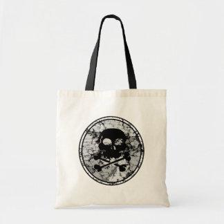 Distressed Skull & Crossbones Silhouette B&W Tote Bag