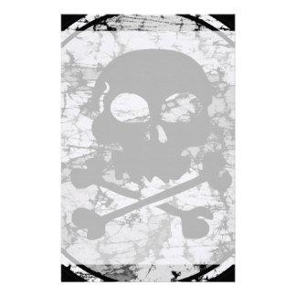 Distressed Skull & Crossbones Silhouette B&W Stationery