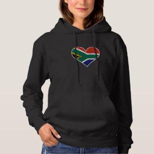 Unisex Kids Children Pullover Hoodie Fleece Half South African Flag Half USA Flag Love Heart Sweater