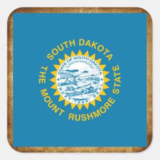 Distressed South Dakota Flag Square Sticker