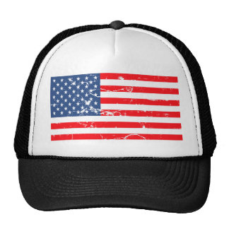 Distressed style USA flag Trucker Hats