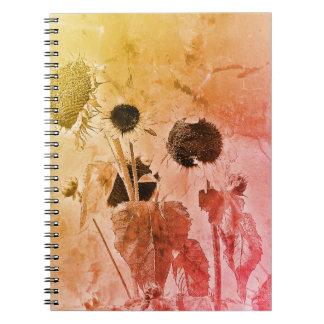 Distressed sunflower notebooks