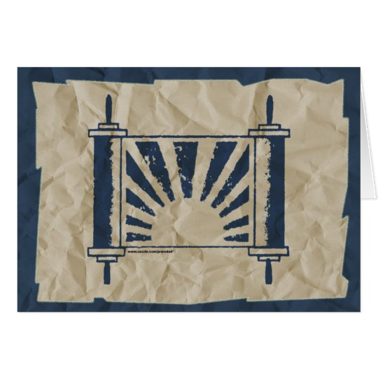 Distressed Sunrise Torah Wrinkled Paper in Blue Card