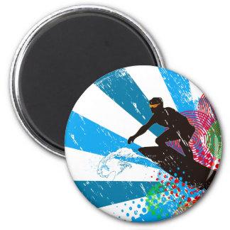 Distressed Surfer Paradise 6 Cm Round Magnet