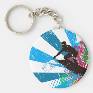 Distressed Surfer Paradise Basic Round Button Key Ring