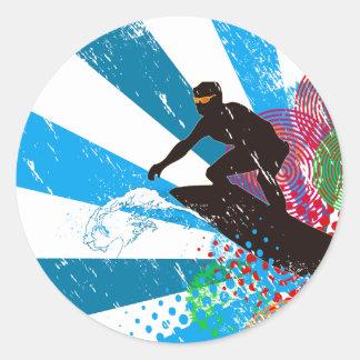 Distressed Surfer Paradise Classic Round Sticker