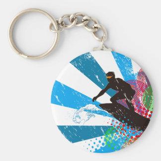 Distressed Surfer Paradise Key Ring